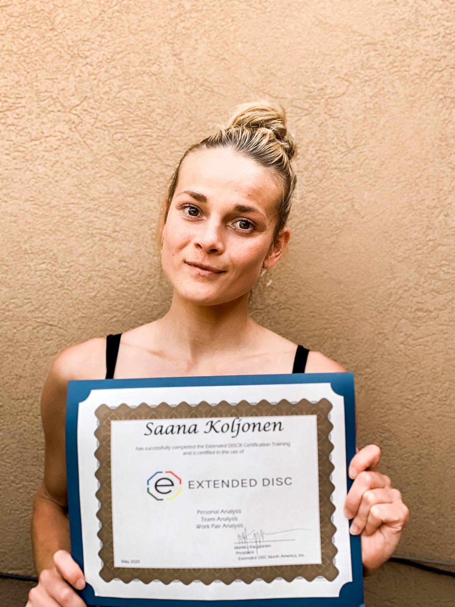 Saana Koljonen Extended DISC certificate